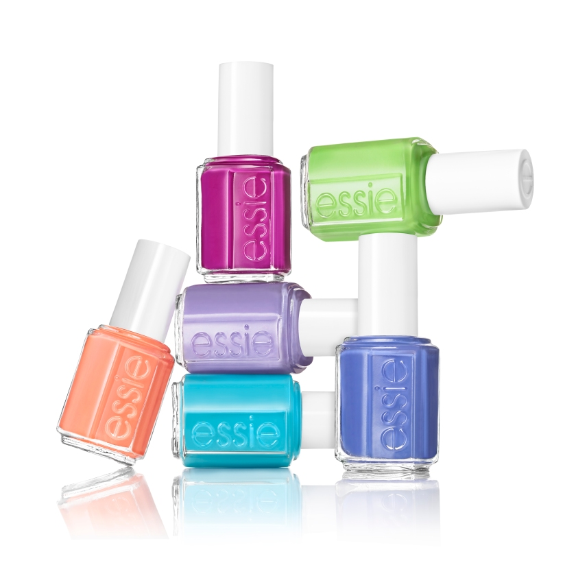 L - R: serial shopper (coral), I'm addicted (turqoise), sittin' pretty (purple), too taboo (fuchsia), chills & thrills ( blue) and vices versa (lime green)