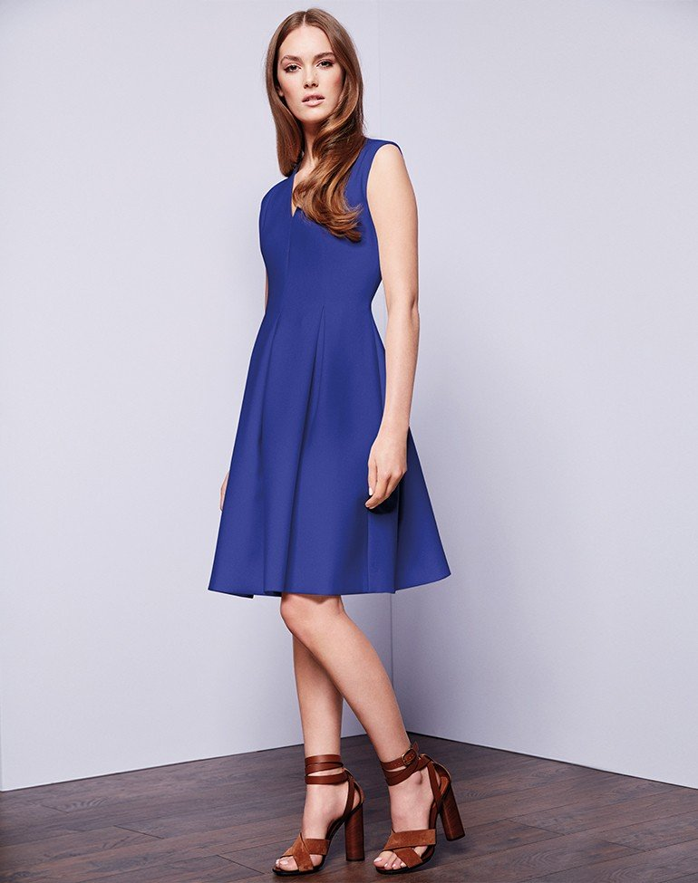 Cobalt Pleat Fit and Flare Dress