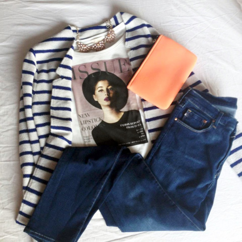 Striped Jacket - Esprit  /  T-Shirt  -  Esprit  /  Jeans  -  H&M  /  Clutch - & Other Stories  /  Necklace - H&M